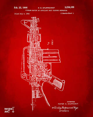 M 16 Digital Art - 1966 M-16 Rifle Patent Red by Nikki Marie Smith