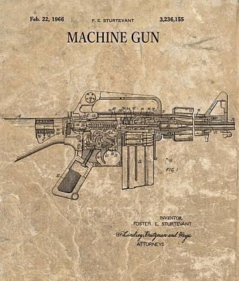 Mixed Media - 1966 Machine Gun Patent by Dan Sproul