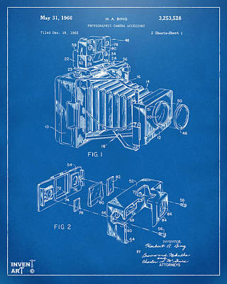 Camera Digital Art - 1966 Photographic Camera Accessory Patent Blueprint by Nikki Marie Smith