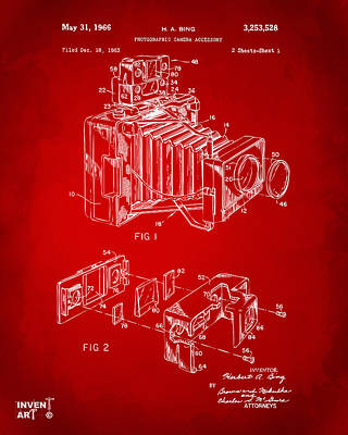 Camera Digital Art - 1966 Photographic Camera Accessory Patent Red by Nikki Marie Smith