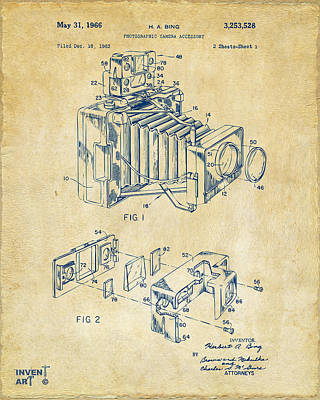 Camera Digital Art - 1966 Photographic Camera Accessory Patent Vintage by Nikki Marie Smith