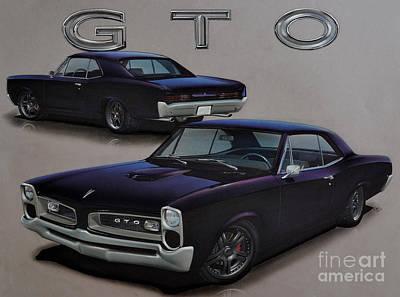 Pontiac Drawing - 1966 Pontiac Gto by Paul Kuras