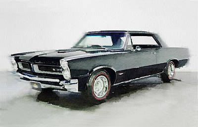 Old Car Painting - 1966 Pontiac Gto Watercolor by Naxart Studio