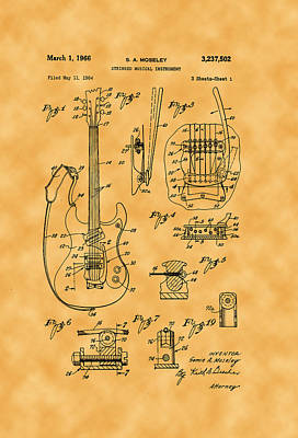Photograph - 1966 S. A. Mosely Guitar Patent by Michael Porchik
