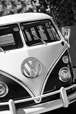 Bus Photograph - 1966 Volkswagen Micro Bus -1012bw by Jill Reger