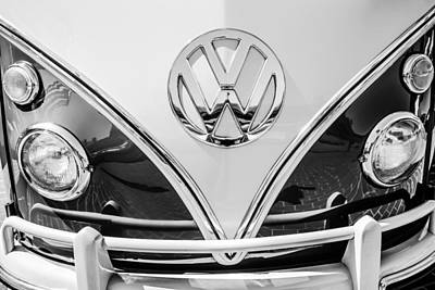 Photograph - 1966 Volkswagen Vw 21-window Deluxe Micro Bus Emblem -0530bw by Jill Reger