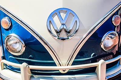 Photograph - 1966 Volkswagen Vw 21-window Deluxe Micro Bus Emblem -0530c by Jill Reger
