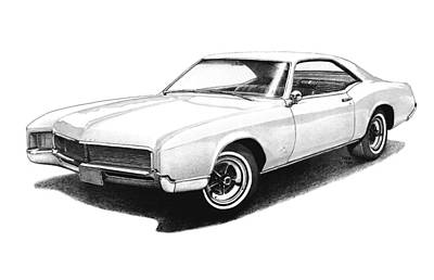 Buick Drawing - 1966 White Buick Riviera by Nick Toth