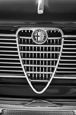 Photograph - 1967 Alfa Romeo Giulia Super Grille Emblem -0730bw by Jill Reger