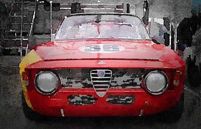Alfa Romeo Painting - 1967 Alfa Romeo Gtv Watercolor by Naxart Studio