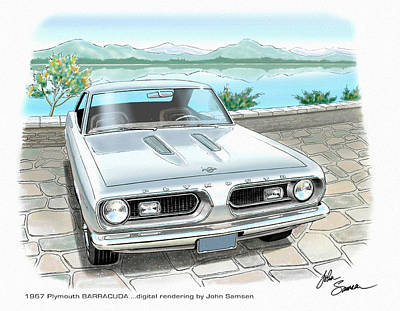Plymouth Cuda Painting - 1967 Barracuda  Classic Plymouth Muscle Car Sketch Rendering by John Samsen