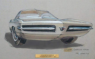 Vintage Car Drawing - 1967 Barracuda  Plymouth Vintage Styling Design Concept Rendering Sketch Fred Schimmel by ArtFindsUSA