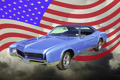 Photograph - 1967 Buick Riviera With United States Flag by Keith Webber Jr