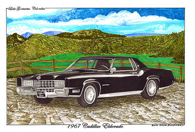 Painting - 1967 Cadillac Eldorado At Lake Guatavita by Jack Pumphrey