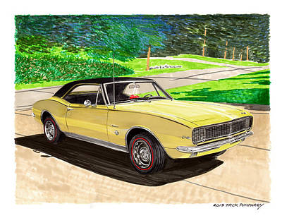 Revising Painting - 1967 Camaro Rs Art by Jack Pumphrey