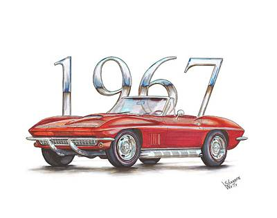Chip Foose Drawing - 1967 Chevrolet Corvette Sting Ray 427 Convertible by Shannon Watts