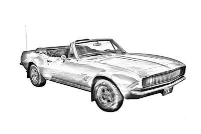 Chevrolet Photograph - 1967 Convertible Camaro Car Illustration by Keith Webber Jr
