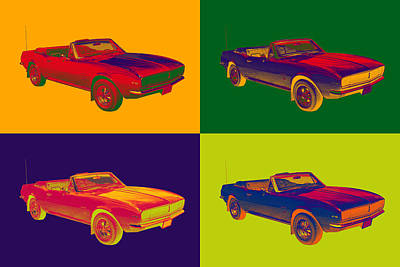 1967 Convertible Camaro Muscle Car Pop Art Art Print by Keith Webber Jr