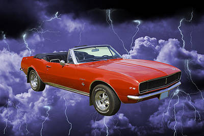 Photograph - 1967 Convertible Red Camaro And Thunderstorm by Keith Webber Jr