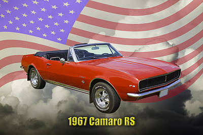 Photograph - 1967 Convertible Red Camaro And Us Flag by Keith Webber Jr