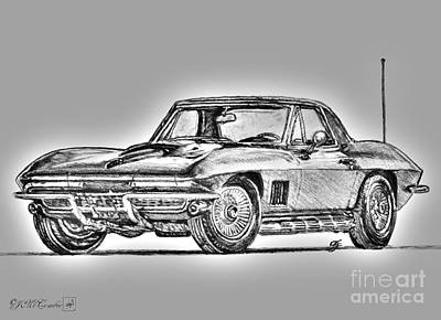Drawing - 1967 Corvette by J McCombie