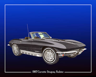 Painting - 1967 Corvette Stingray Roadster by Jack Pumphrey