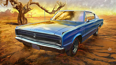 Glazier Painting - 1967 Dodge Charger In The Desert by Garth Glazier