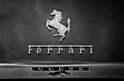 Photograph - 1967 Ferrari 275 Gtb-4 Berlinetta Emblem -0167bw by Jill Reger