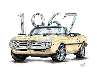 Pontiac Drawing - 1967 Firebird Ho Convertible by Shannon Watts