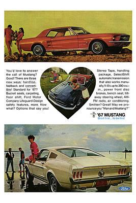Motown Digital Art - 1967 Ford Mustang by Digital Repro Depot