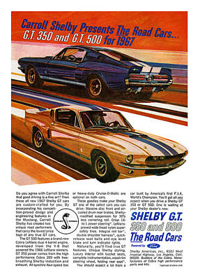 Motown Digital Art - 1967 Ford Mustang Shelby Gt350 And Gt500 by Digital Repro Depot