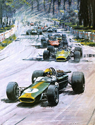 Car Drawing - 1967 French Grand Prix by Graham Coton
