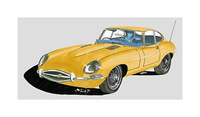 Sportscar Drawing - 1967 Jaguar X K E Coupe by Jack Pumphrey