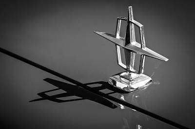 Lincoln Photograph - 1967 Lincoln Continental Hood Ornament -1204bw by Jill Reger