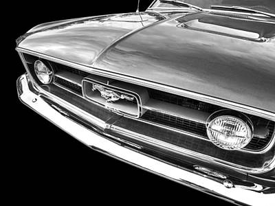 Photograph - 1967 Mustang Grille In Black And White by Gill Billington