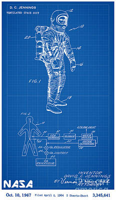 Spaceman Digital Art - 1967 Nasa Astronaut Ventilated Space Suit Patent Art 1 by Nishanth Gopinathan
