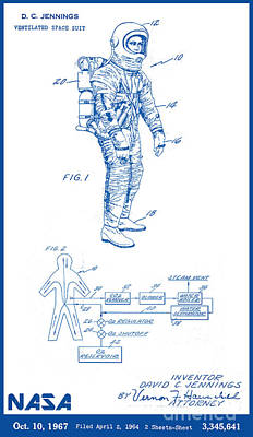 Spaceman Digital Art - 1967 Nasa Astronaut Ventilated Space Suit Patent Art 2 by Nishanth Gopinathan