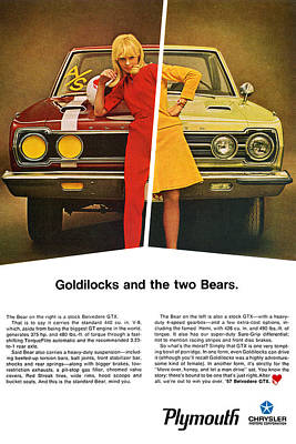 Ad Digital Art - 1967 Plymouth Gtx - Goldilocks And The Two Bears. by Digital Repro Depot