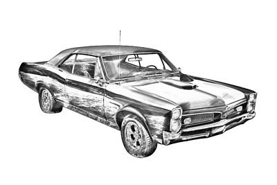 Photograph - 1967 Pontiac Gto Muscle Car Illustration by Keith Webber Jr