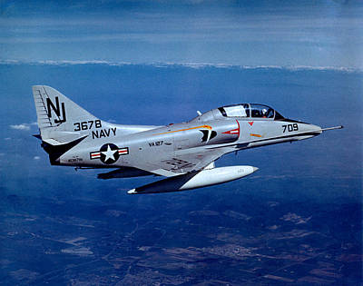 Photograph - 1967 Us Navy Shyhawk In Flight by Historic Image