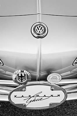 Karmann Photograph - 1967 Volkswagen Vw Karmann Ghia Emblems by Jill Reger