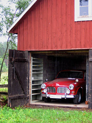 1967 Volvo In Red Sweden Barn Art Print