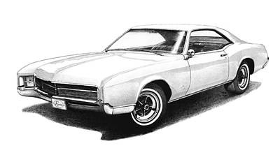 Buick Drawing - 1967 White Buick Riviera by Nick Toth