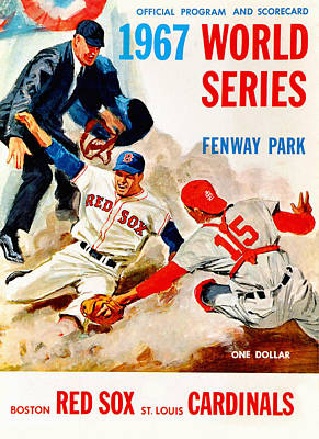 Fenway Park Boston Painting - 1967 World Series Program by Big 88 Artworks