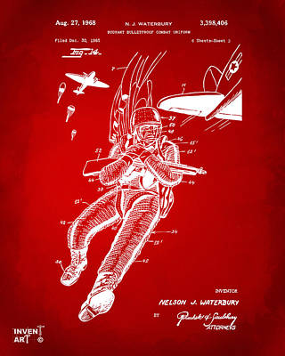 Digital Art - 1968 Bulletproof Patent Artwork Figure 14 Red by Nikki Marie Smith