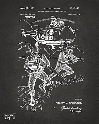 Helicopter Digital Art - 1968 Bulletproof Patent Artwork Figure 15 Gray by Nikki Marie Smith