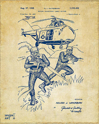 Helicopter Digital Art - 1968 Bulletproof Patent Artwork Figure 15 Vintage by Nikki Marie Smith