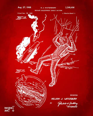 Digital Art - 1968 Bulletproof Patent Artwork Figure 16 Red by Nikki Marie Smith