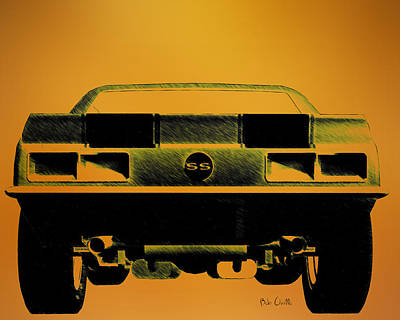 Orsillo Drawing - 1968 Camaro Ss  Full Rear by Bob Orsillo