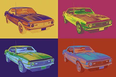 1968 Chevrolet Camaro 327 Muscle Car Pop Art Art Print